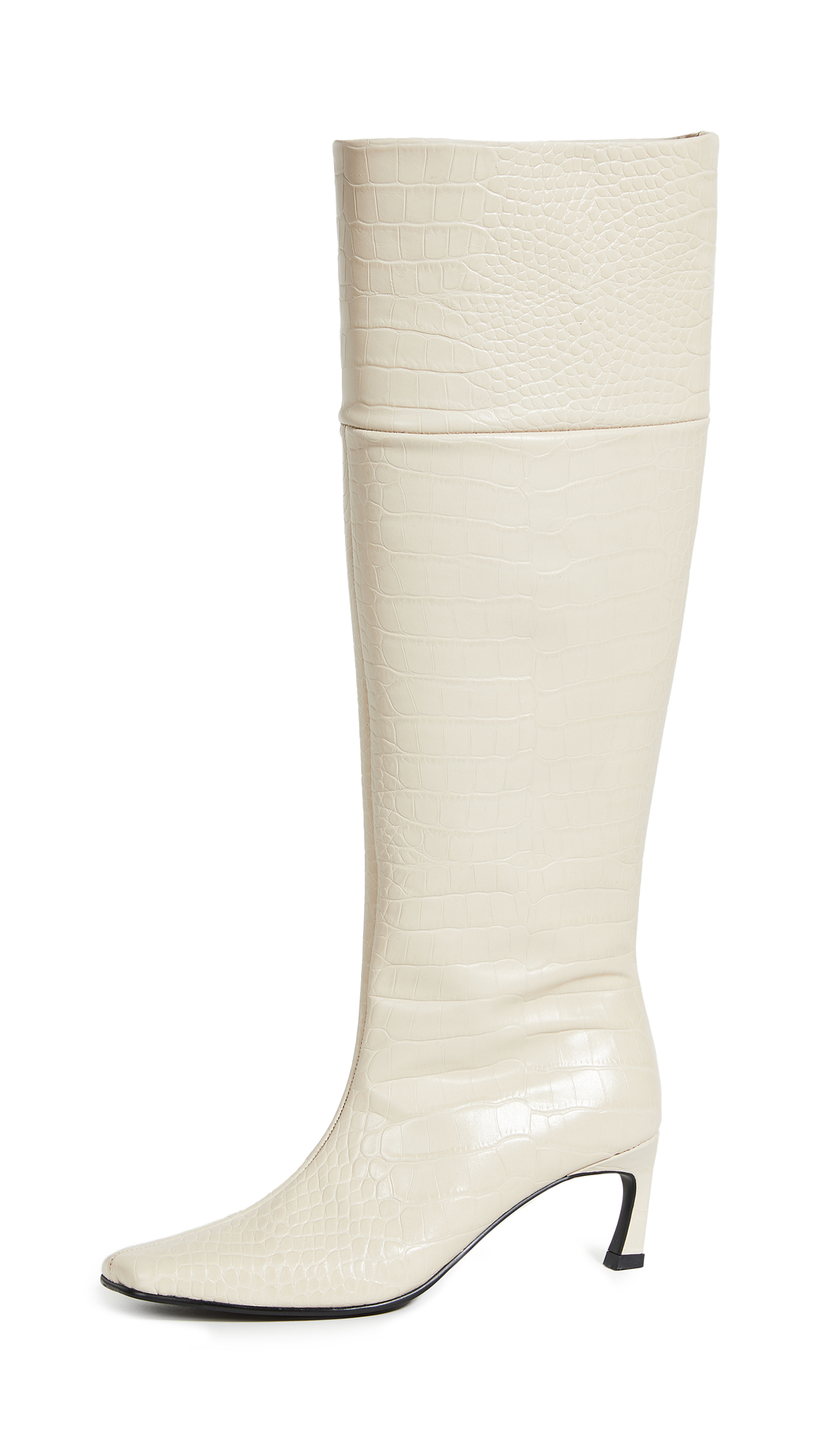 Reike Nen Pointed Square Mid-heel Long Boots In Cream