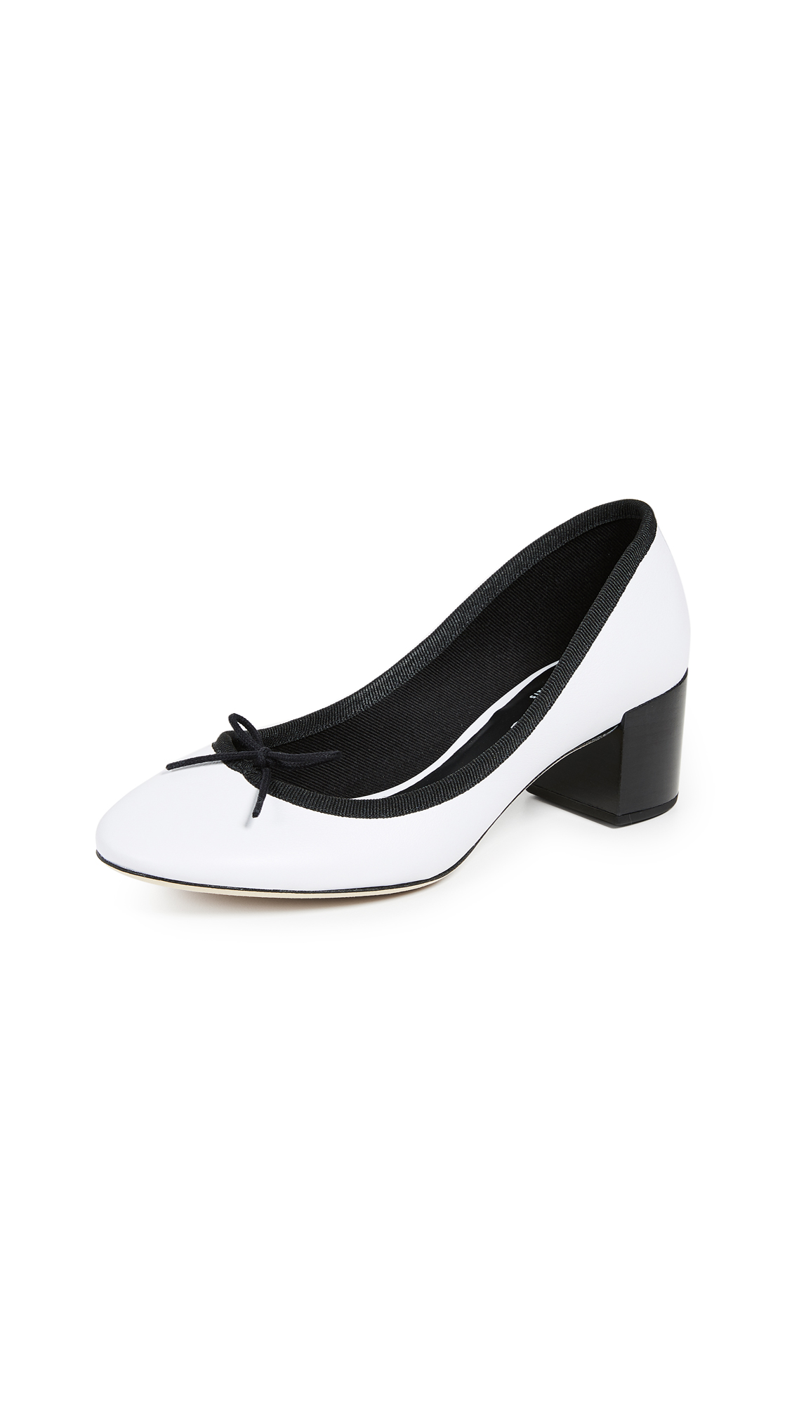 Repetto Farah Block Heel Pumps - Black/White