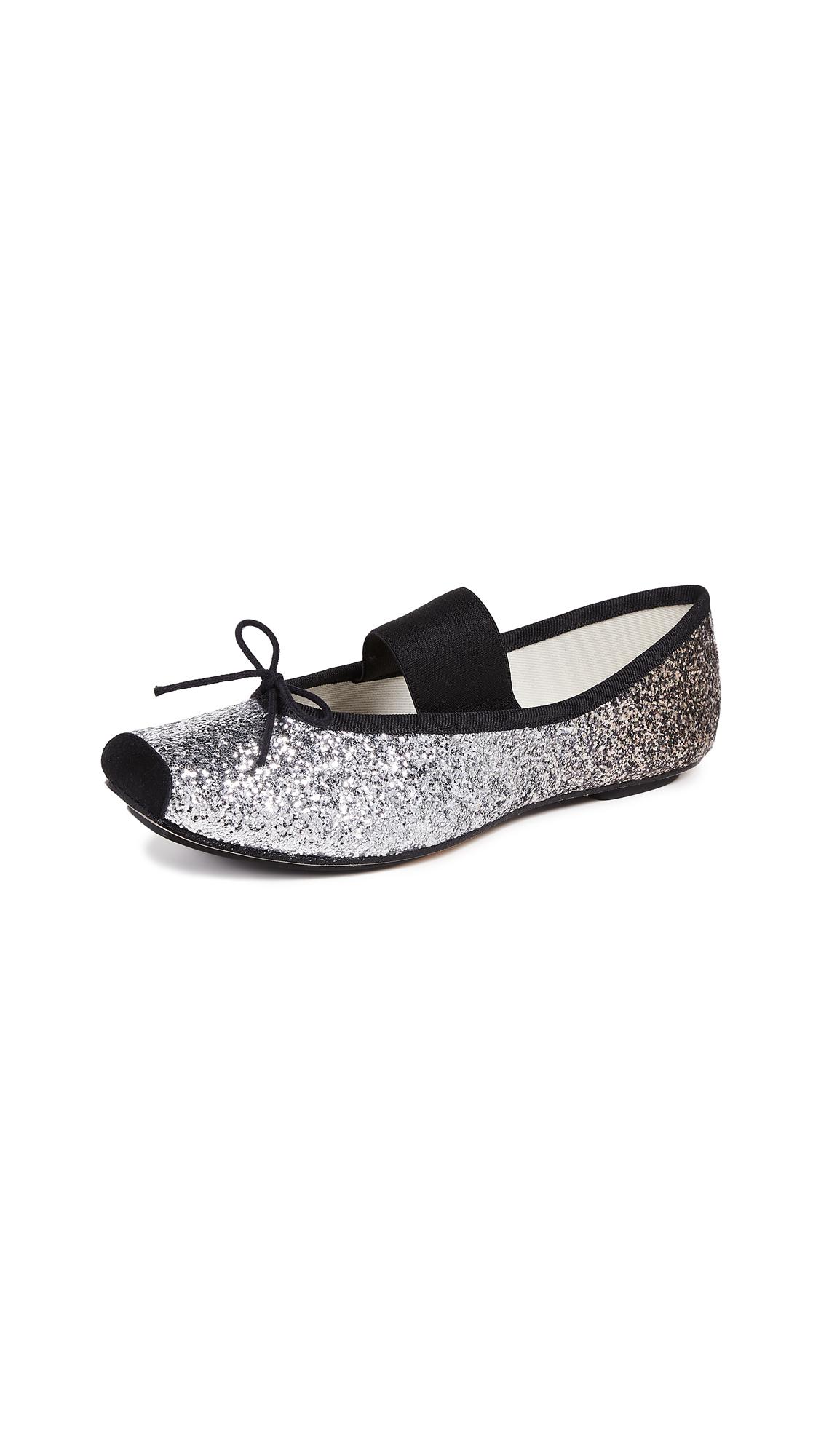 Repetto Catherine Glitter Ballerina Flats - Black/Silver