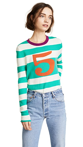 Replica Los Angeles Five Stripe Sweater In Veridian/Chalk