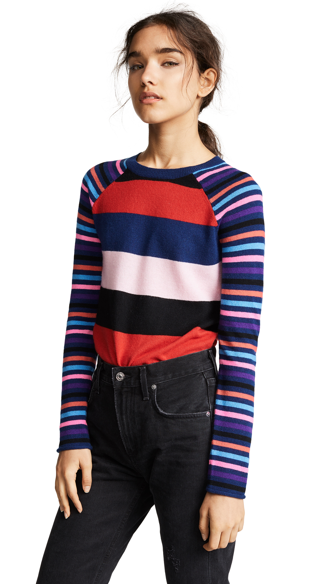 Striped Long Sleeve Cashmere Tee, Multi