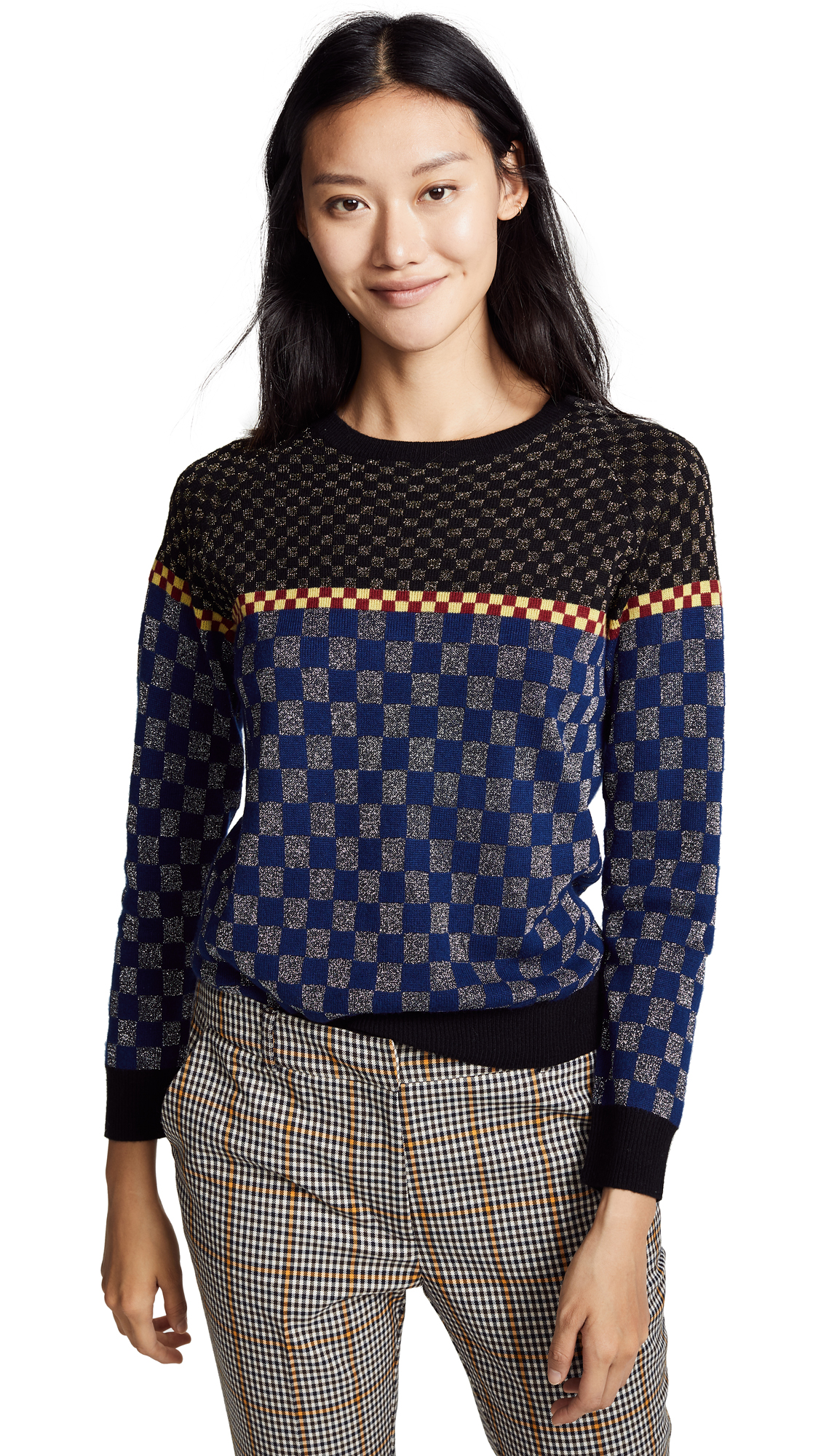 REPLICA LOS ANGELES Checkerboard Jacquard Sweatshirt in Black/Navy