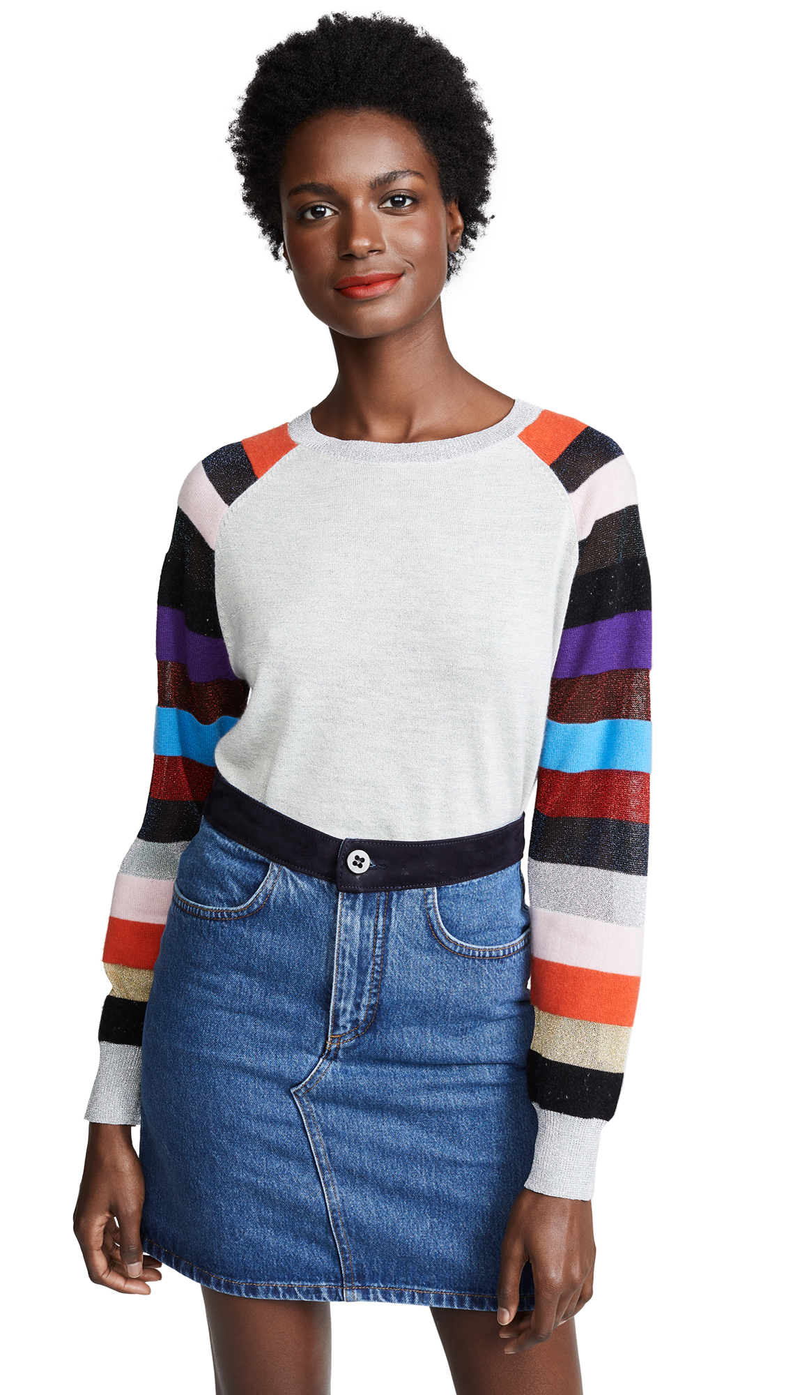REPLICA LOS ANGELES Multi Striped Cashmere Sweater in Silver/Multi