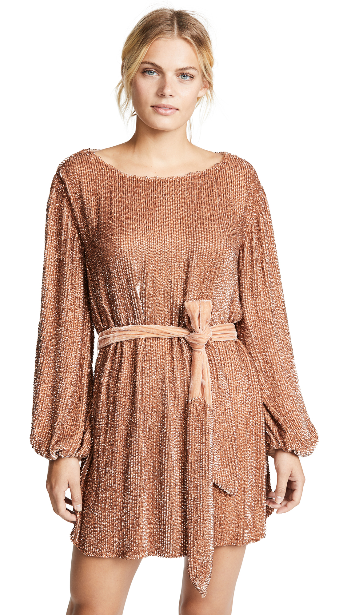 RETROFÉTE Grace Sequin Dress in Bronze