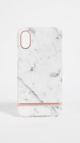 RICHMOND & FINCH White Marble Iphone X Case in White Marble/Rose Gold