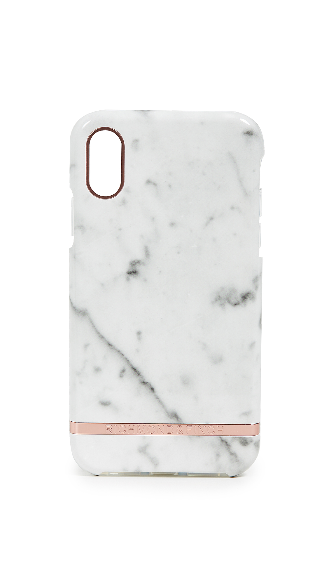 RICHMOND & FINCH White Marble Iphone Xr Case in White Marble/Rose Gold