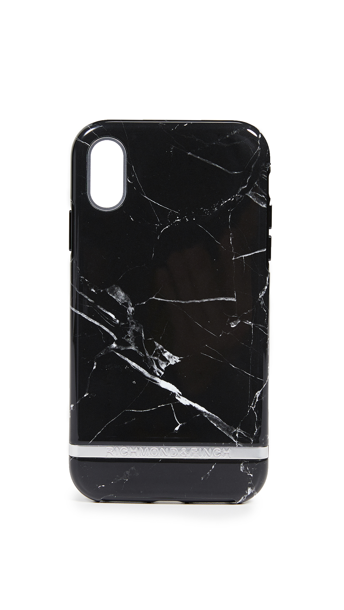 RICHMOND & FINCH Black Marble Iphone Xr Case in Black Marble/Silver