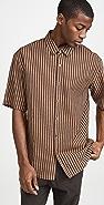 Robert Geller Striped Cotton Linen Short Sleeve Shirt