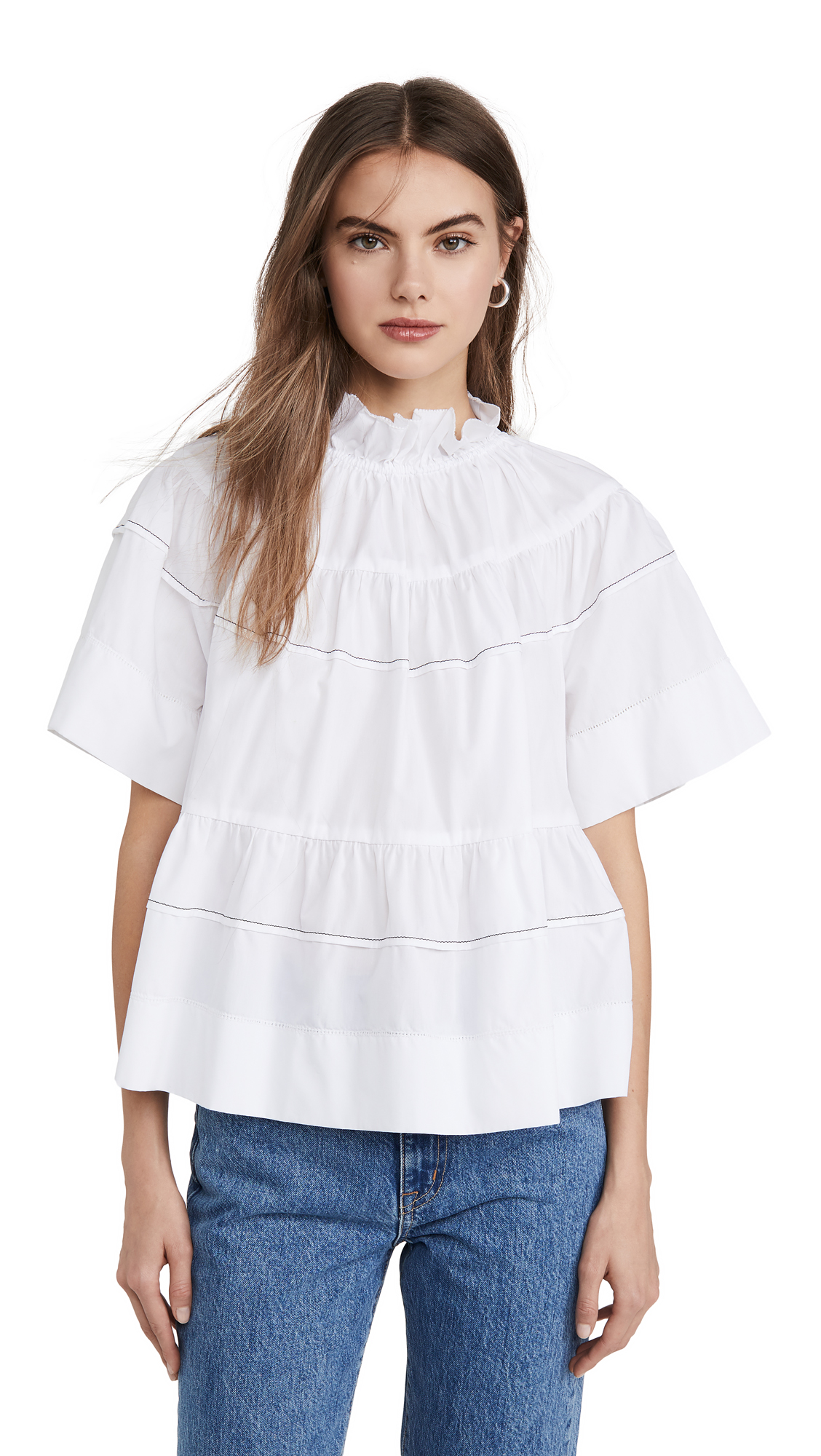 Rosetta Getty Tiered Ruffle Top - 40% Off Sale
