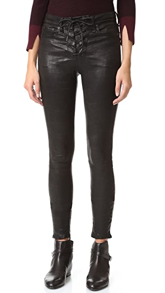 Rag & Bone/JEAN Кожаные брюки с высокой талией и шнуровкой