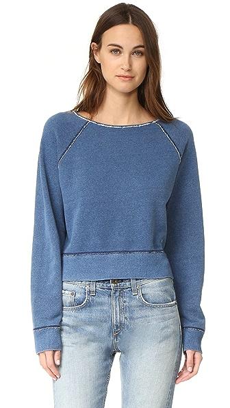 Rag & Bone/JEAN Пуловер цвета индиго с необработанными краями