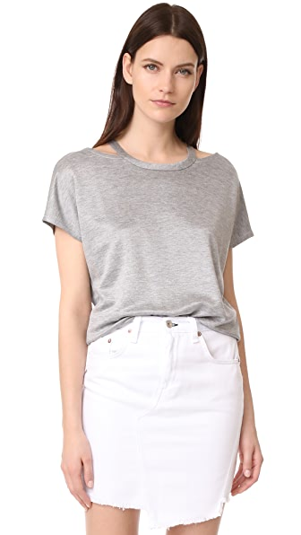 Rag & Bone/JEAN Cutout Tee In Light Grey