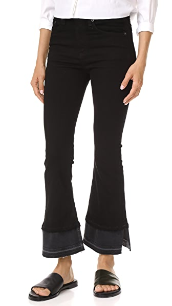Rag & Bone/JEAN Crop Flare Jeans - Coal