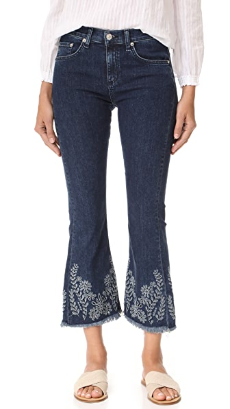 Rag & Bone/JEAN Crop Flare Jeans In Indigo Embroidery