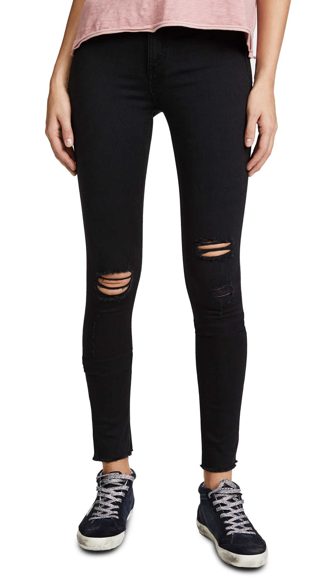 Rag & Bone/JEAN High Rise Skinny Jeans - Night With Holes