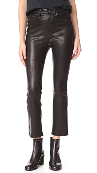Rag & Bone/JEAN The Hana High Rise Cropped Leather Pants - Black Leather