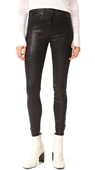 Rag & Bone/JEAN High Rise Skinny Leather Pants - Black Leather