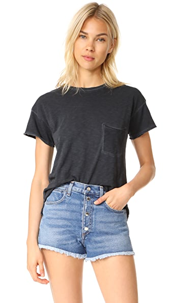 Rag & Bone/JEAN Vintage Crew with Pocket - Washed Black
