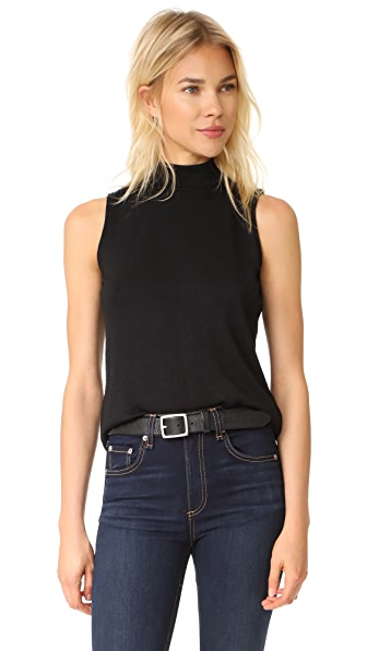 Rag & Bone/JEAN Thea Mock Neck Top In Black