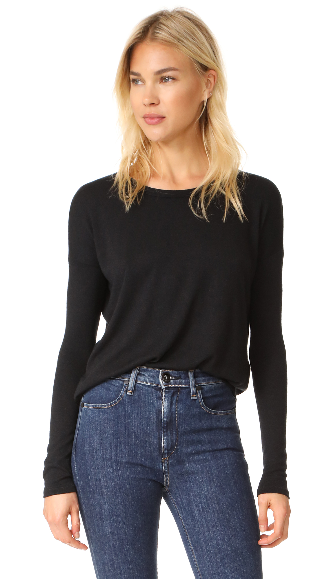 Rag & Bone/JEAN Hudson Long Sleeve Tee - Black