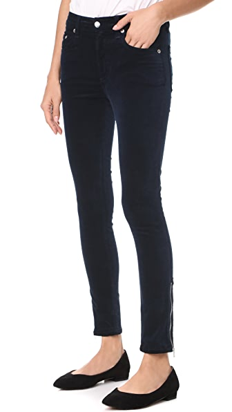 Rag & Bone/JEAN Velvet Ame Zipper Capri Jeans In Navy Velvet