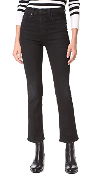 Rag & Bone/JEAN The Hana High Rise Cropped Jeans - Worn Black