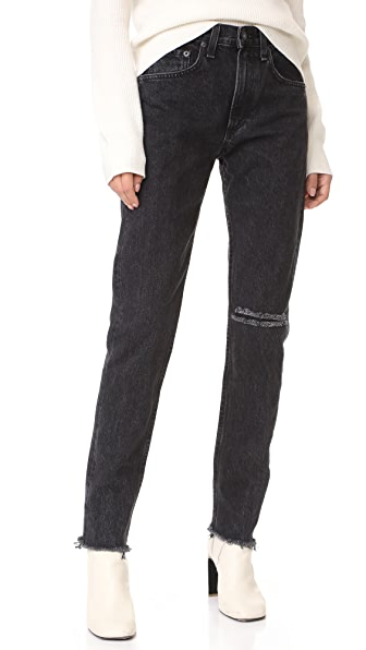 Rag & Bone/JEAN High Rise Rigid Jeans - Black Stone