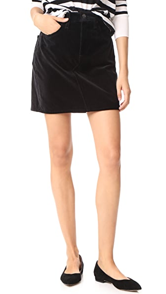 Rag & Bone/JEAN Velvet Dive Skirt In Black Velvet