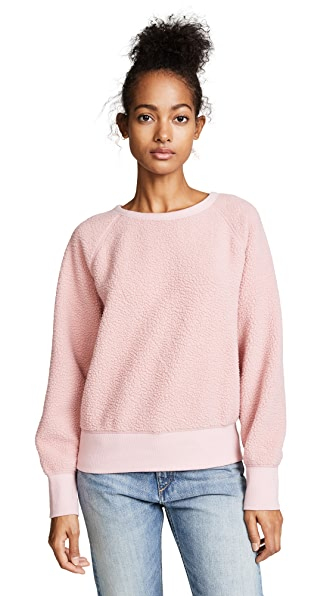 Rag & Bone/JEAN Sherpa Fleece Pullover In Greyed Pink