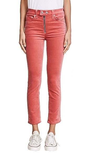 Rag & Bone/JEAN Dojo Velvet Jeans In Washed Red