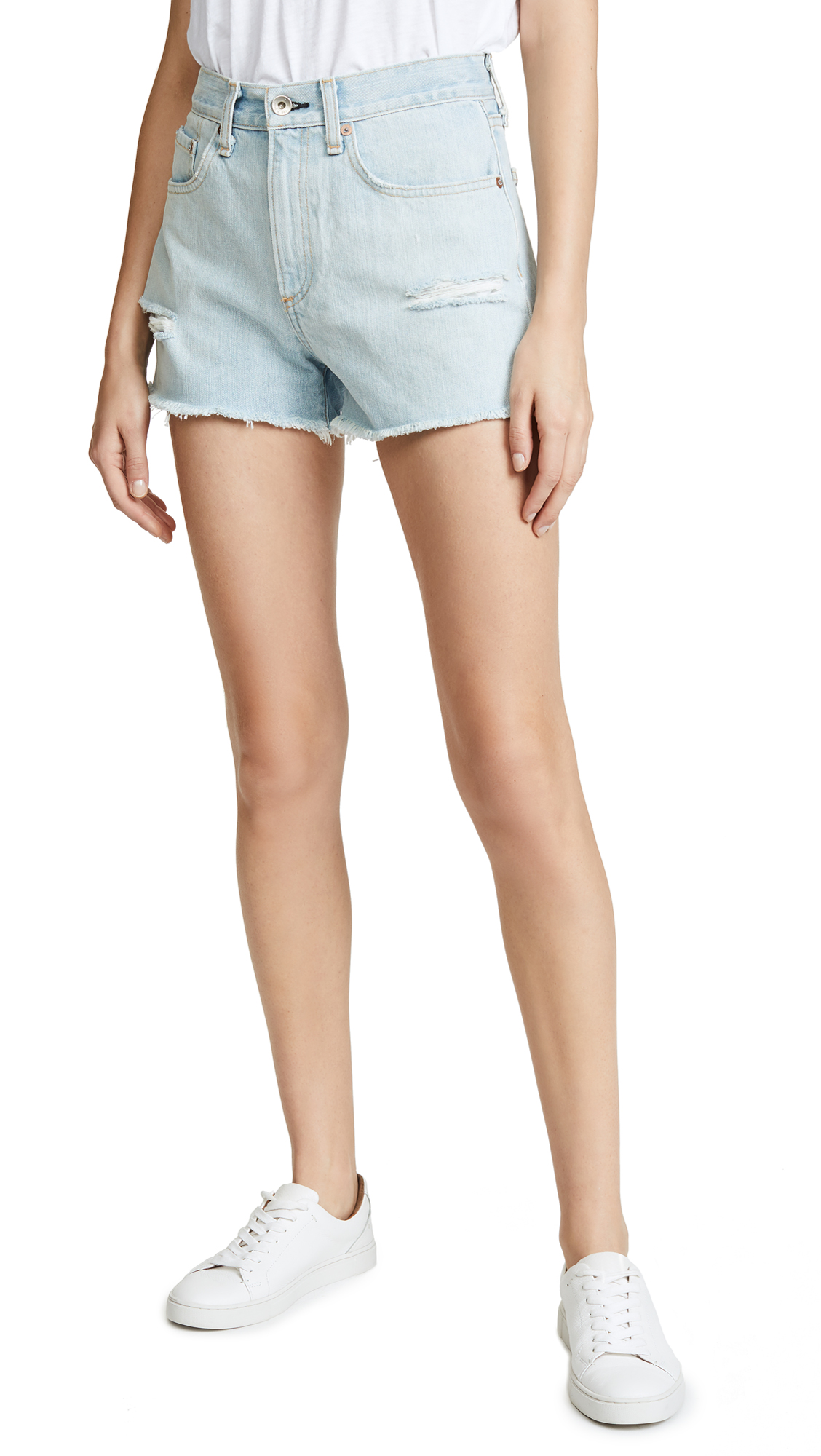 Rag & Bone/JEAN Justine High Rise Shorts In Glena With Holes