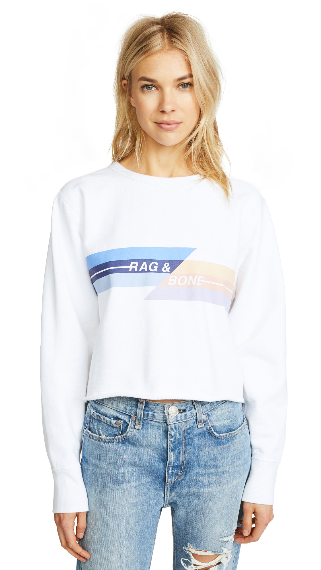 Rag & Bone/JEAN Glitch Sweatshirt In White