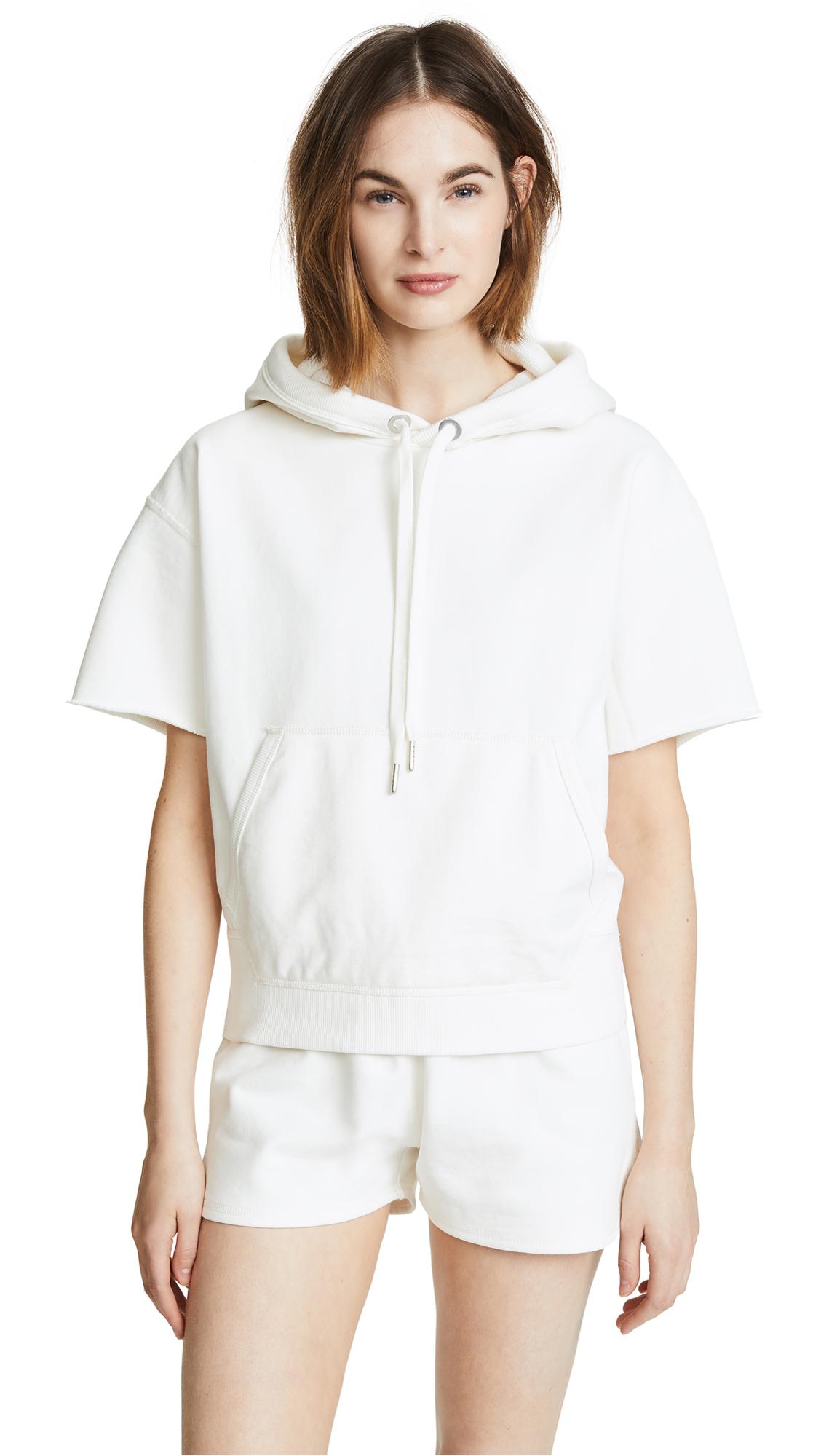 Rag & Bone/JEAN Short Sleeve Hoodie In Ivory