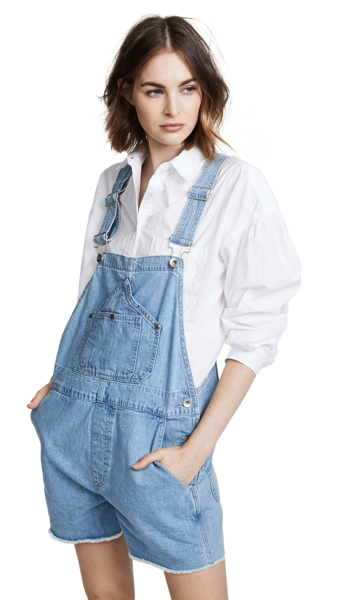 Rag & Bone/JEAN Patched Short Dungaree Overalls In Crystal Wash