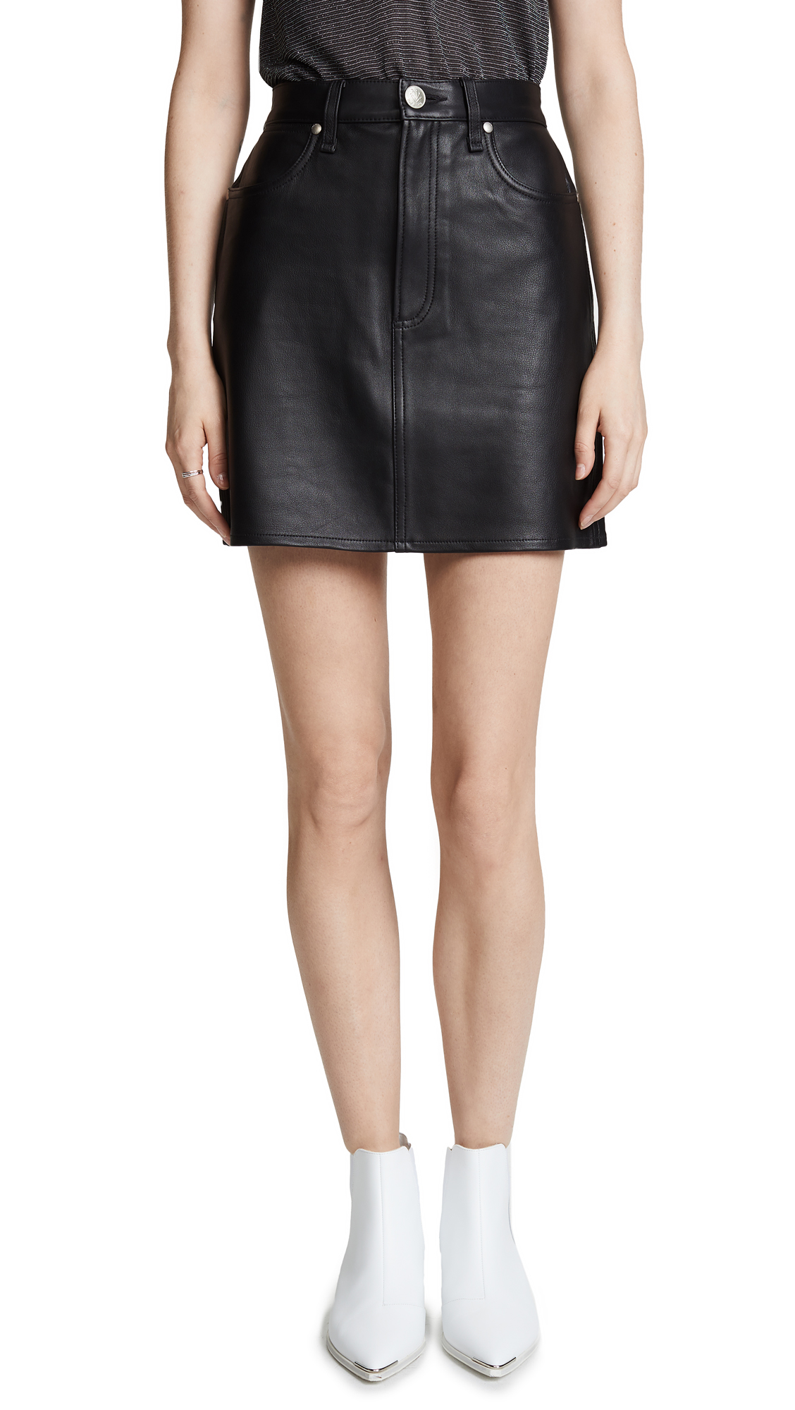 Rag & Bone/JEAN Moss Leather Skirt In Black