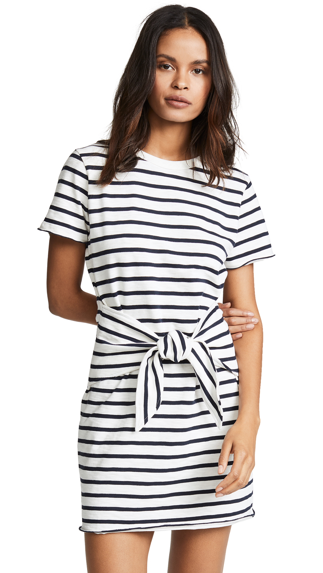 Rag & Bone/JEAN Halsey Tie Dress In White/Navy