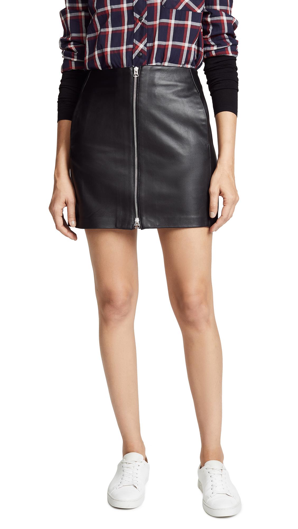 Rag & Bone/JEAN Heidi Leather Skirt In Black