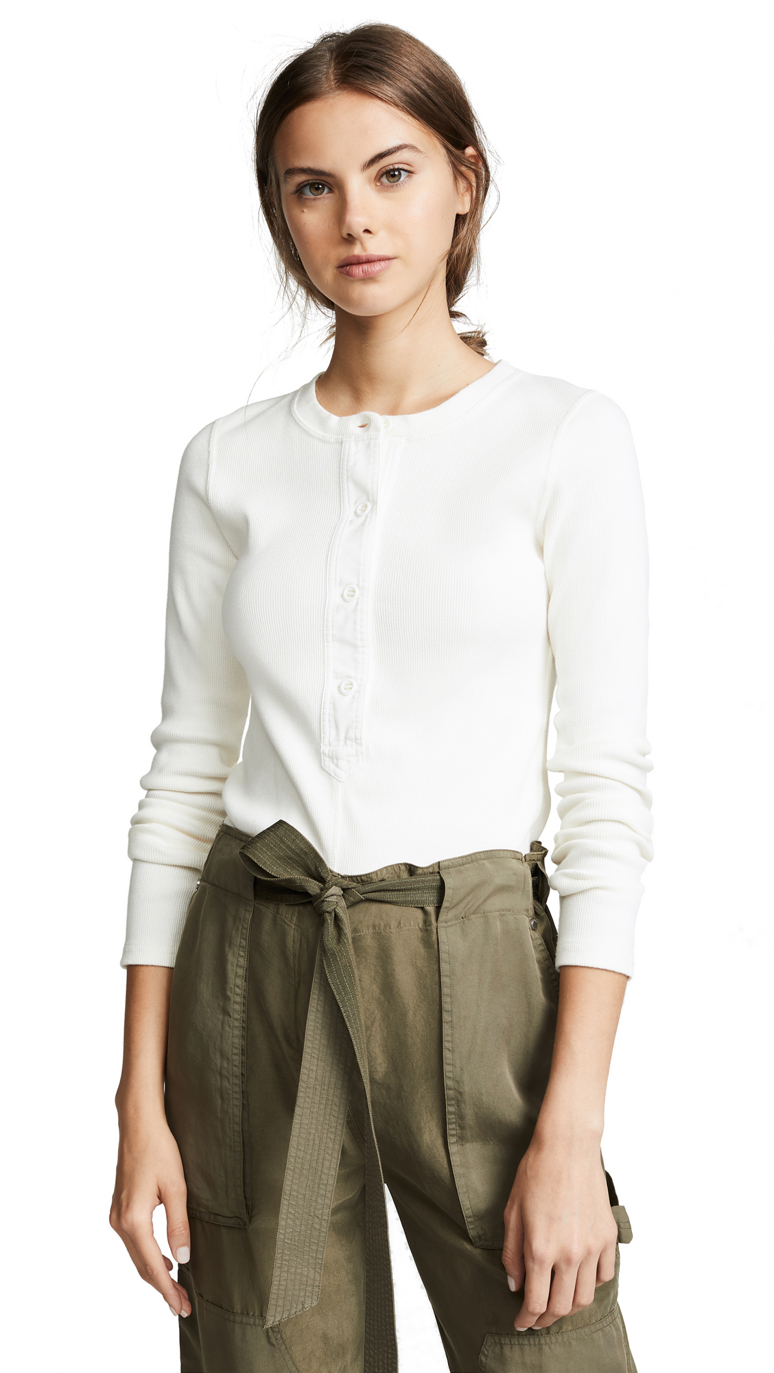 Rag & Bone/JEAN Mallory Ribbed Thermal Tee In Ivory