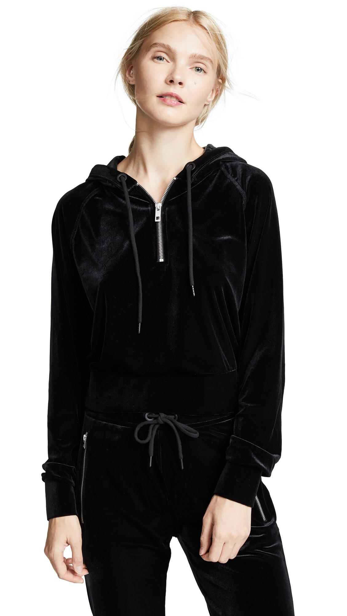 Rag & Bone/JEAN Velvet Cropped Hoodie In Black