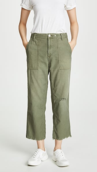 Rag & Bone Kaye Cropped Wide-leg Chino Pants In Olive