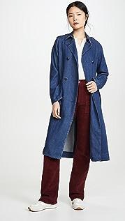 Rag & Bone/JEAN Идеально скроенное пальто-тренч из денима