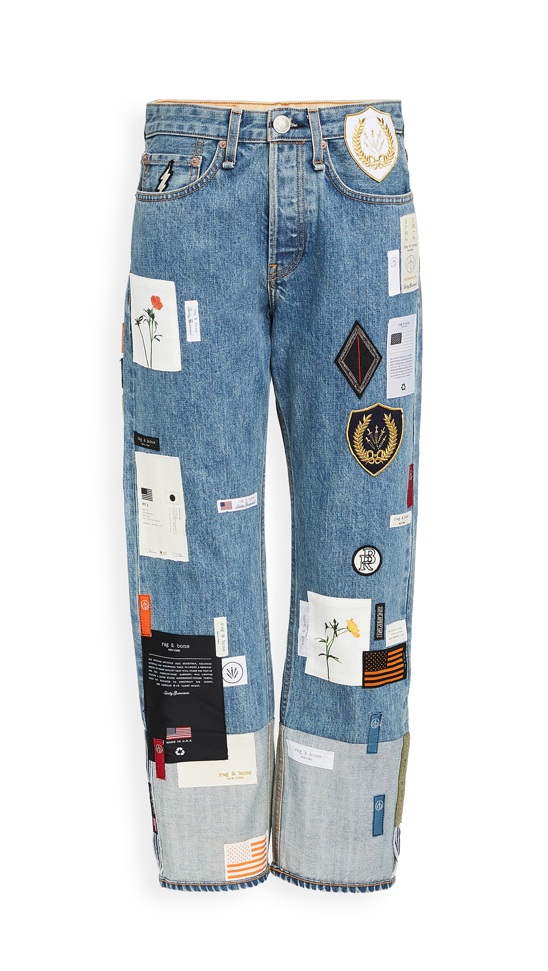 Buy Rag & Bone/JEAN online - photo of Rag & Bone/JEAN Patchwork Denim Jeans