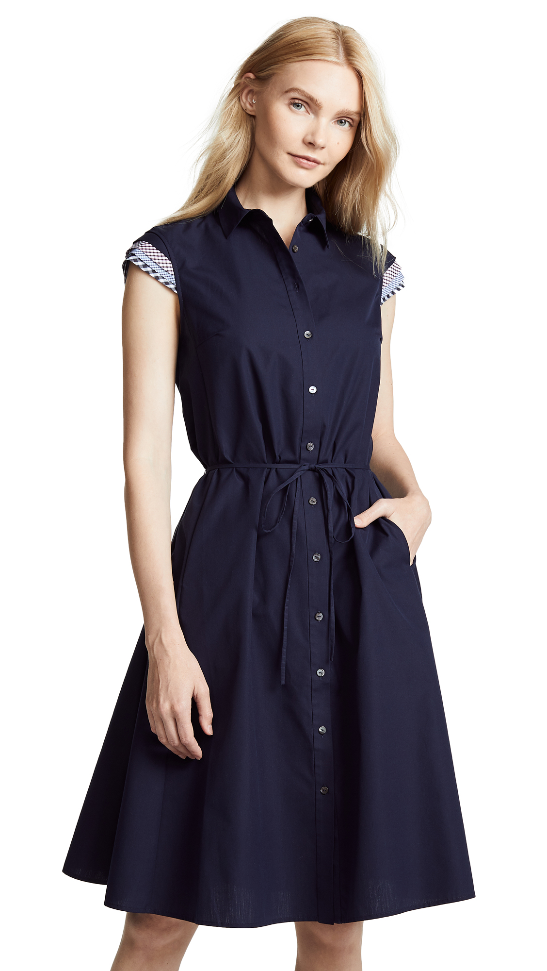 RHIÉ Cap Sleeve Dress in Navy