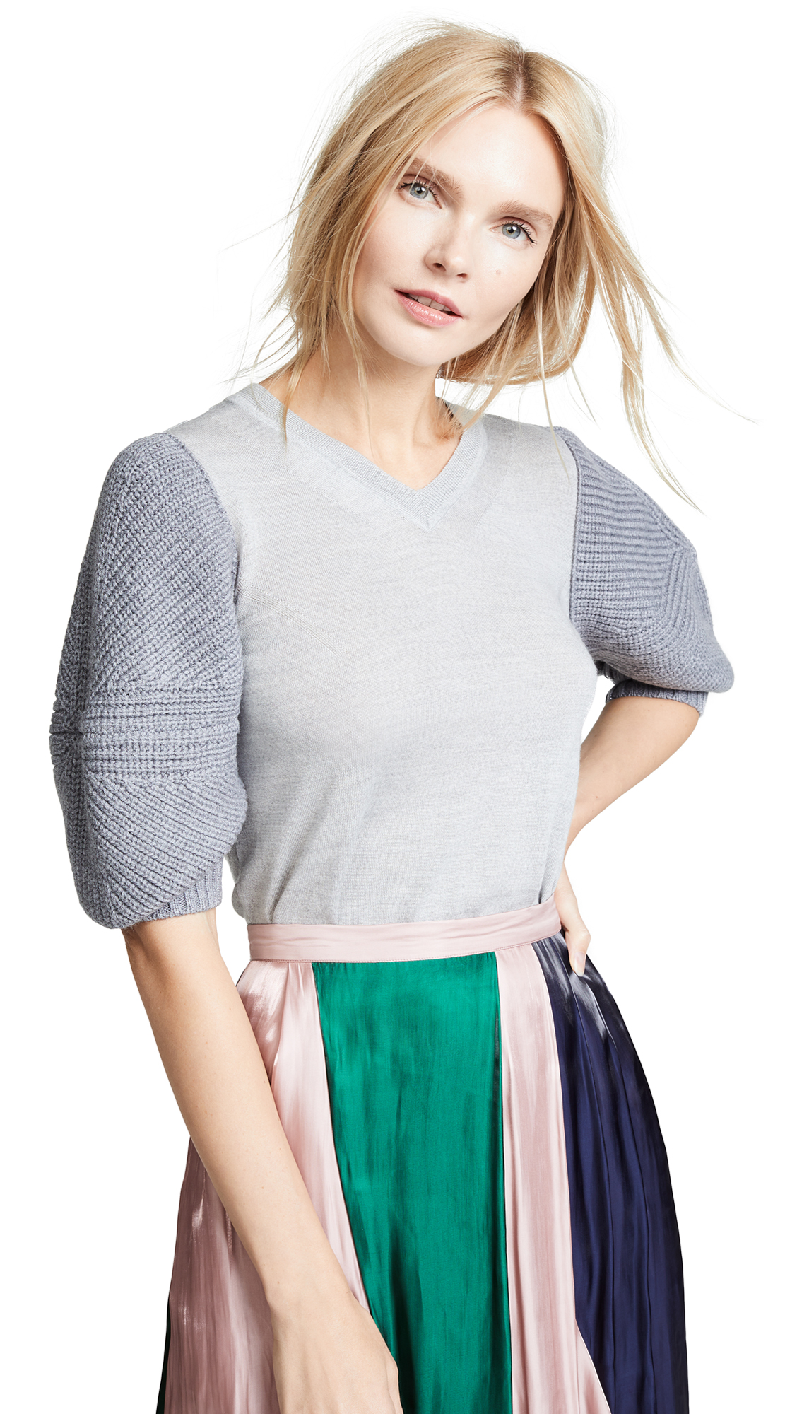 RHIE Magna Sleeve Top In Heather Grey
