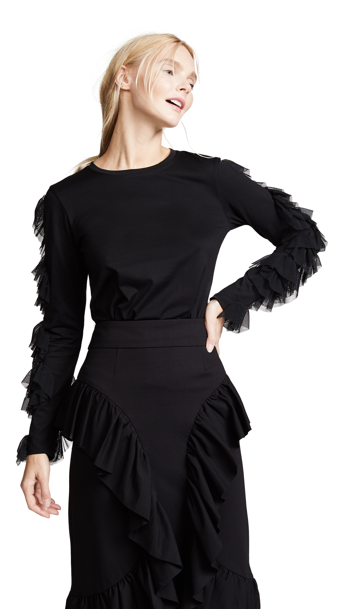 RHIE Ruffle Sleeve Top In Black