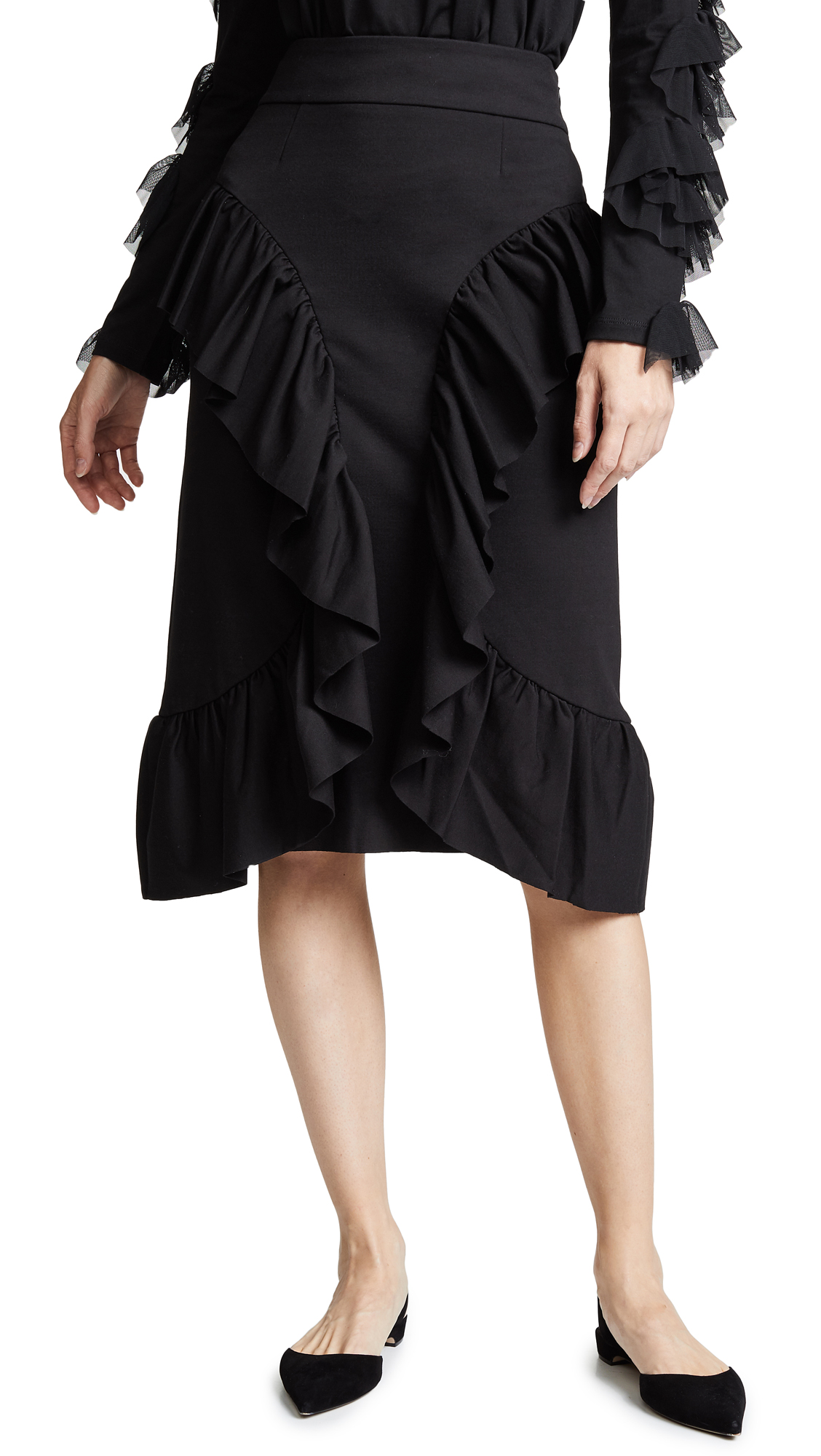 RHIE Ruffle Skirt In Black