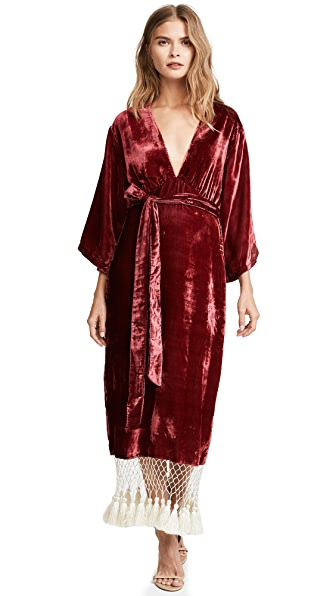 Rhode Resort Leonard Tassel Dress In Burgundy