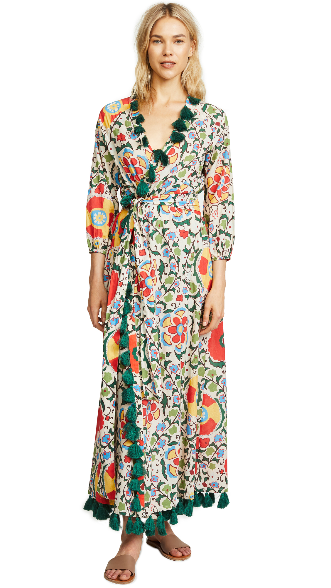 RHODE RESORT Lena Tasseled Printed Cotton-Voile Maxi Dress in White Multiflower
