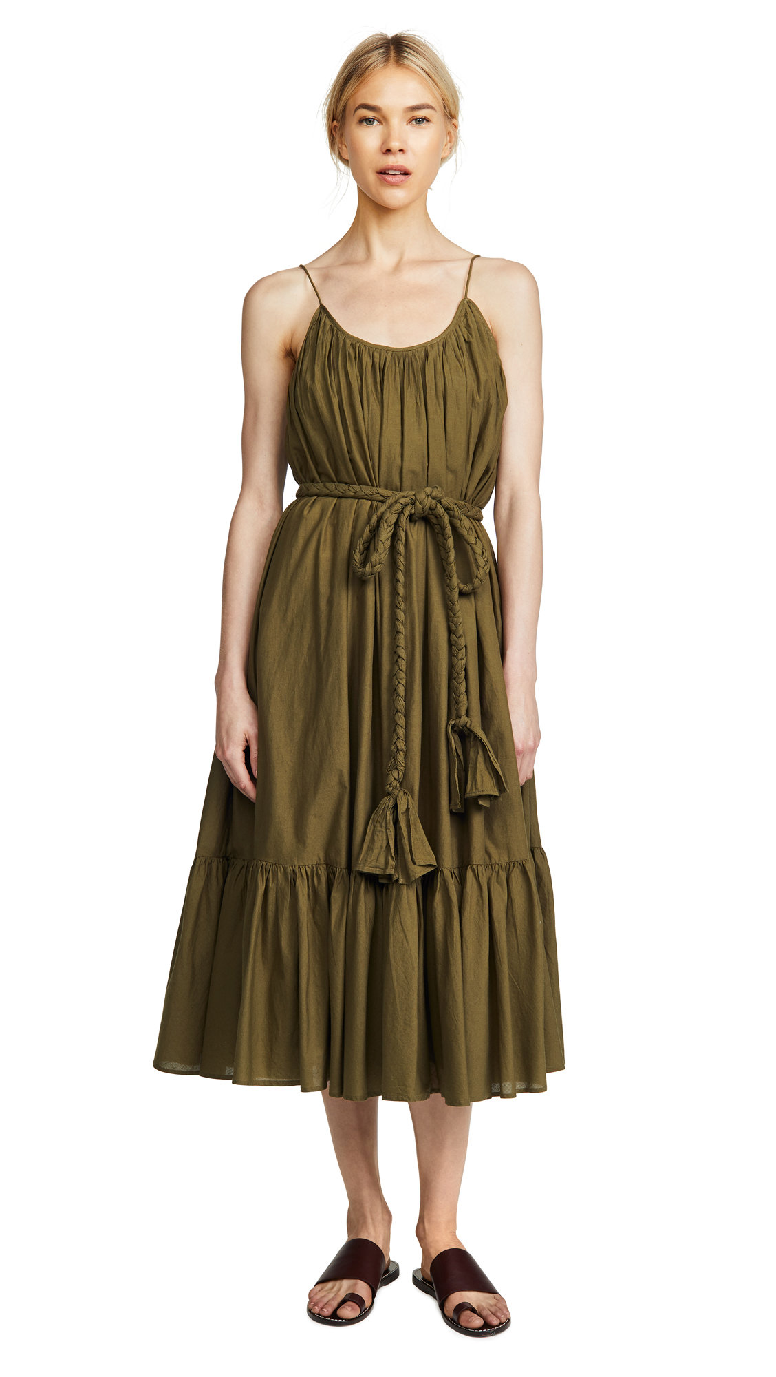 RHODE RESORT Lea Belted Pleated Cotton Midi Dress in Army Green