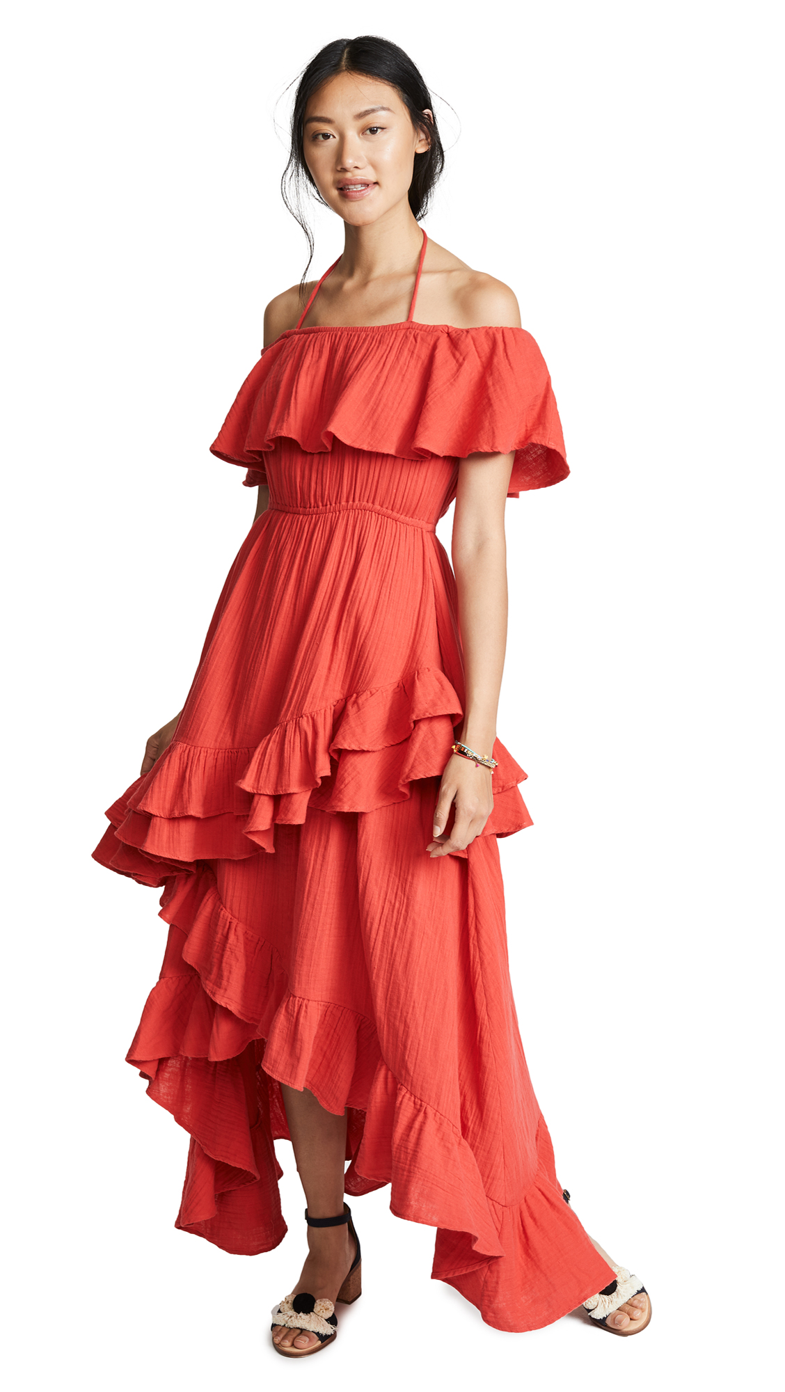 RHODE RESORT Salma Off-The-Shoulder Ruffled Cotton-Voile Maxi Dress in Red